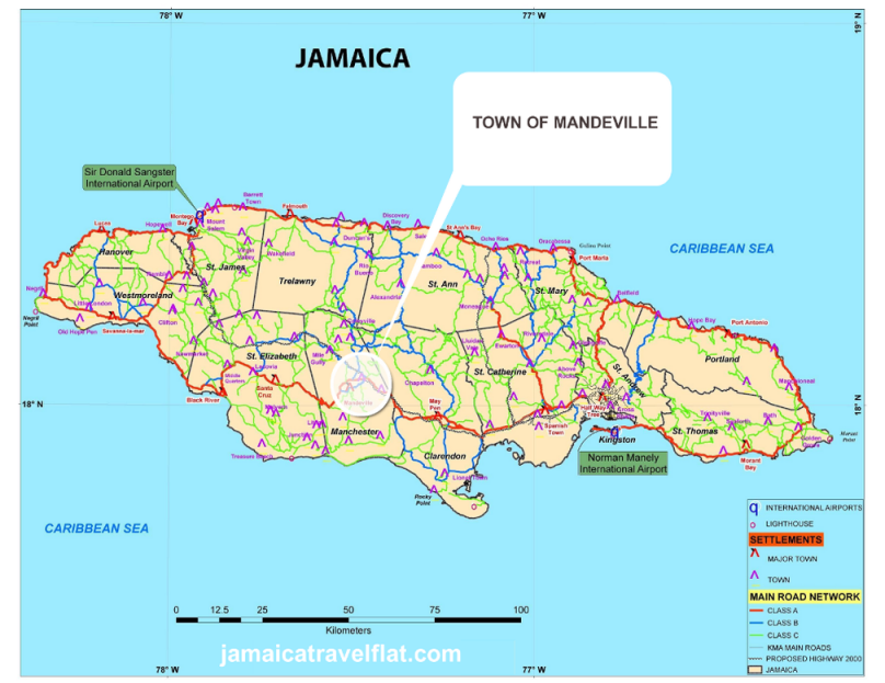 About Jamaica About Mandeville Jamaica - Jamaica map caribbean sea
